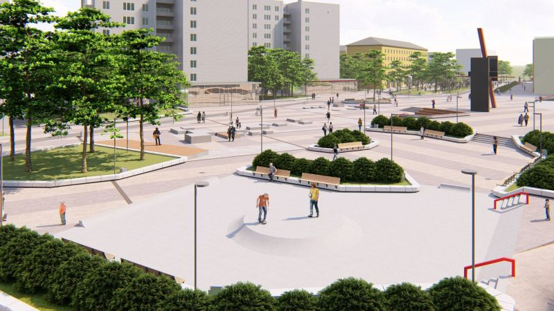 Возвышение в центре площади - роллерная площадка.