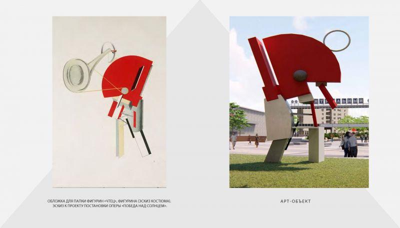 Эскиз костюма, созданный Эль Лисицким, и его переосмысление в виде арт-объекта.