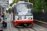 Трамвай на одной из улиц Екатеринбурга