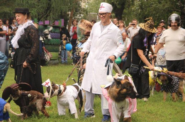 Главное событие выставки - костюмированное дефиле владельцев собак и их питомцев.