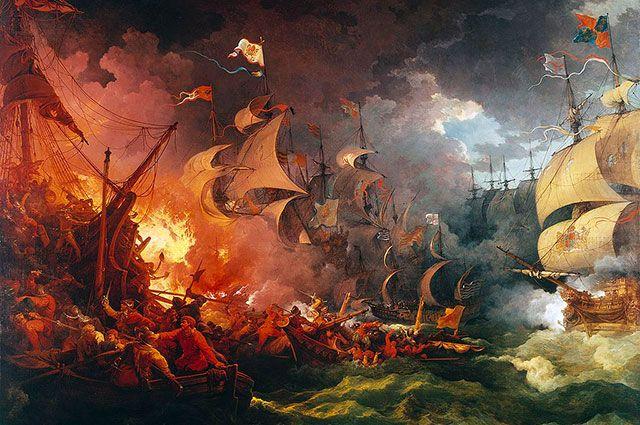 Разгром «Непобедимой Армады» 8 августа 1588 года. Картина художника Филиппа-Жака (Филиппа-Джеймса) де Лутербурга (1796).