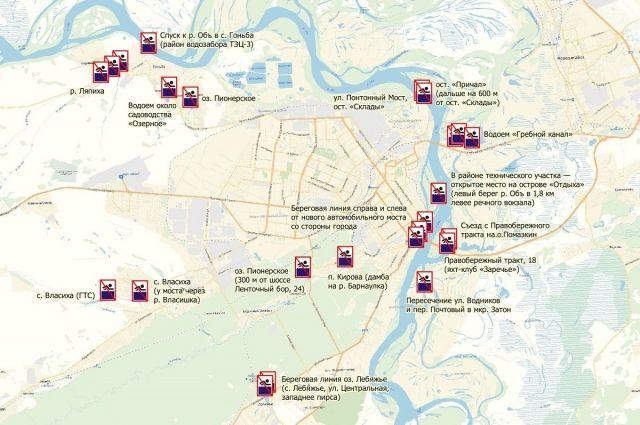 Схема опасных мест для купания в Барнауле