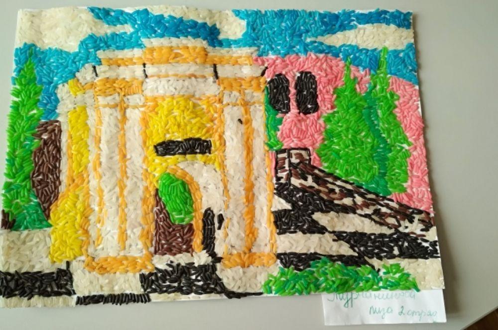 """Тарские ворота"" (аппликация из цветного риса). Лиза Турчанинова."