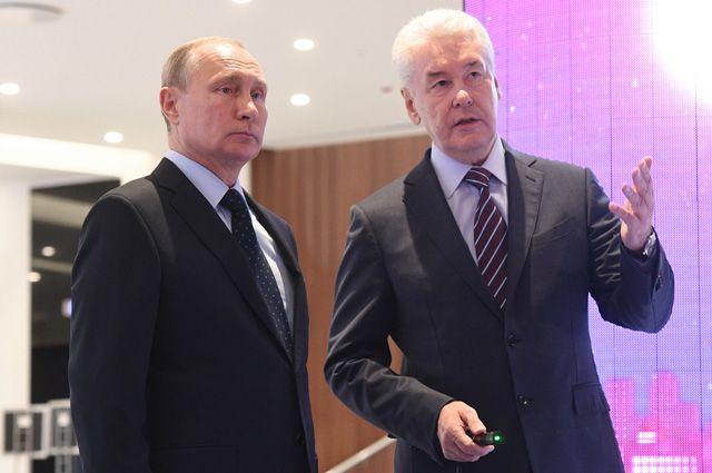 Президент РФ Владимир Путин и мэр Москвы Сергей Собянин на Московском урбанистическом форуме.