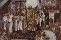 «Крещение Руси» — фреска русского художника Васнецова над входом на хоры во Владимирском соборе в Киеве.