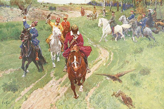 Картина Франца Рубо «Охота башкир с соколами в присутствии императора Александра II».