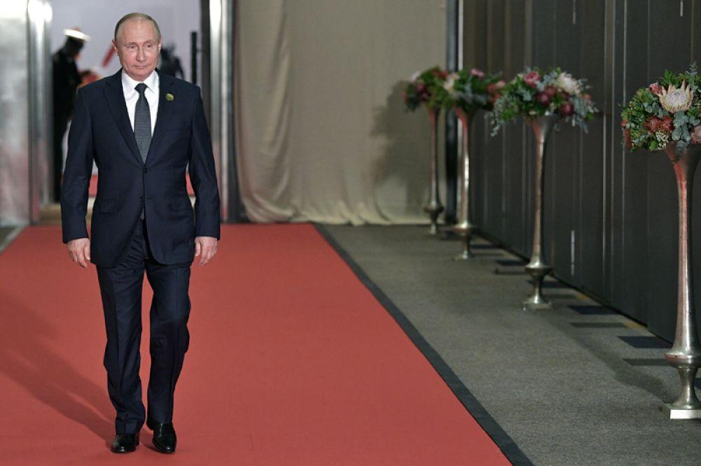 Президент РФ Владимир Путин в международном конференц-центре Sandton в Йоханнесбурге, где проходят мероприятия саммита БРИКС.