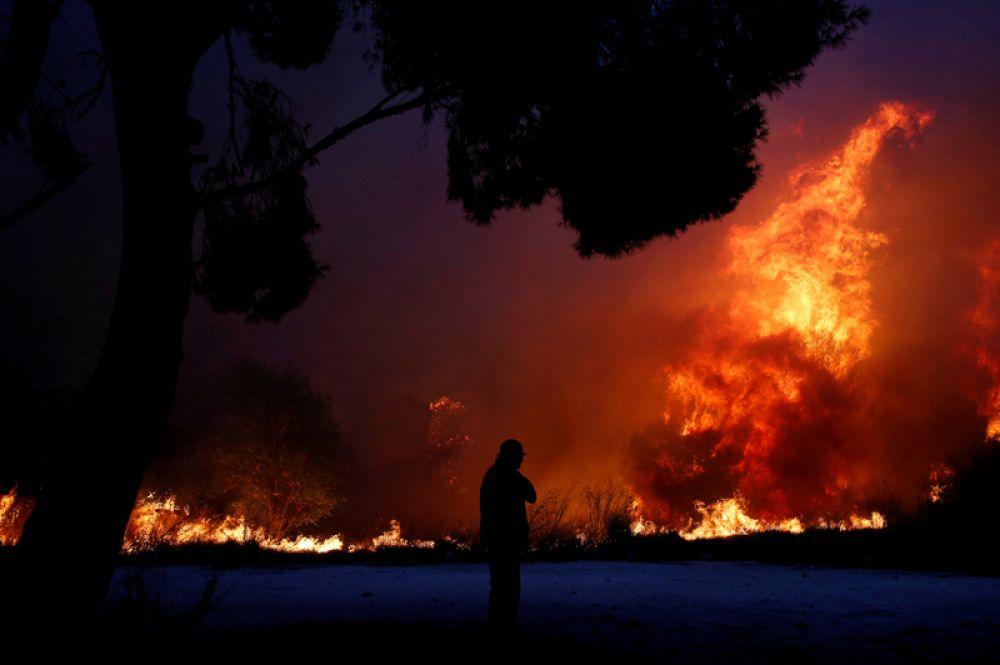 Лесные пожары у города Рафина, Греция.