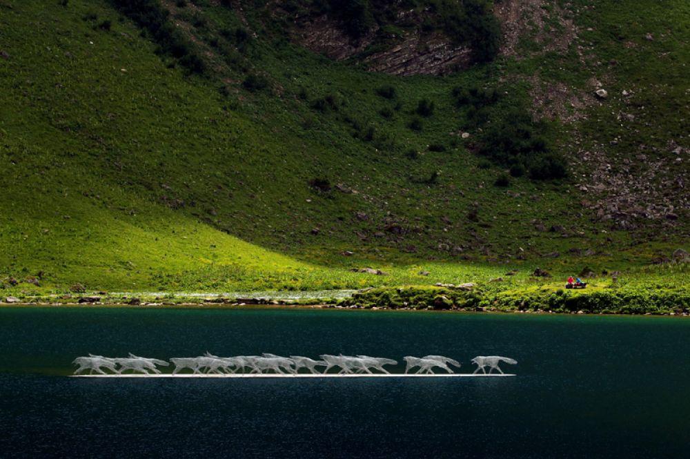 Инсталляция швейцарских художников Лары и Оливье Эстоппи «Волчья стая» на озере Лиосон во время выставки Ailyos Art Nature, Швейцария.
