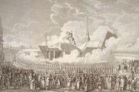Открытие монумента Петру Великому. Гравюра А. К. Мельникова с рисунка А. П. Давыдова, 1782 г.