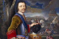 Пётр I с чернокожим пажом. Немецкая акварель, ок. 1707.