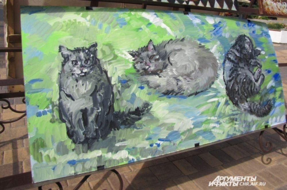 «Коты» - работа белгородской художницы Маргариты Скобач и её ученика Никиты Тулаева, сделанная специально для арт-субботы.