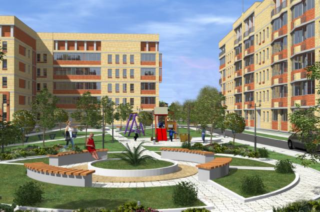 Кроме жилых домов в микрорайоне построят детские сады, школу, спортивный комплекс, магазин и кафе.