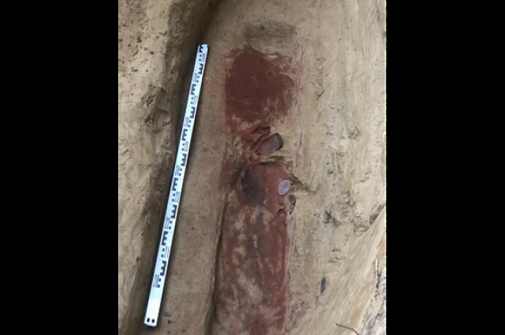 Захоронение было обнаружено случайно, на глубине около полутора метров. Возраст находки - более четырех тысяч лет.