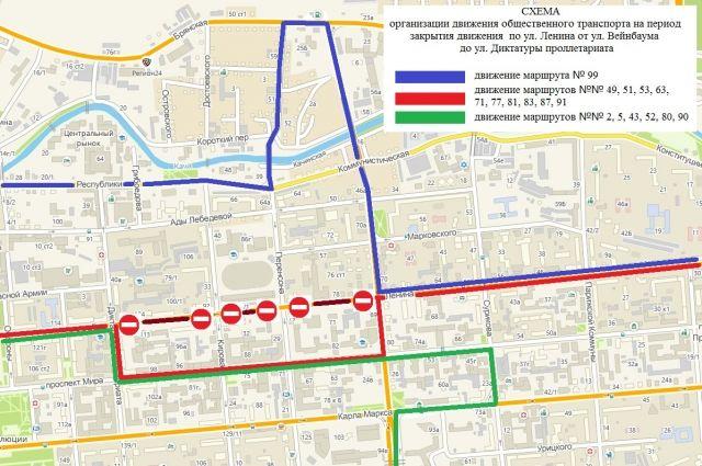 Схема движения в центре города.