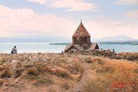 Монастырь Севанаванк на озере Севан.