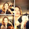 Алена Винницкая воспитывает (и укрощает) сразу двух своих питомцев - разноцветных и беспородных кошек по имени Пятка и Булик.
