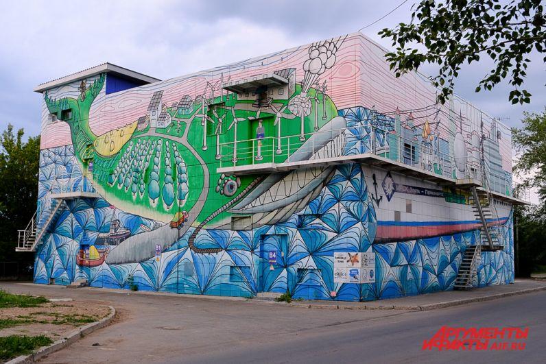 «Энерго-город и Эко-кит» на подстанции «Пермэнерго» у коммунального моста.