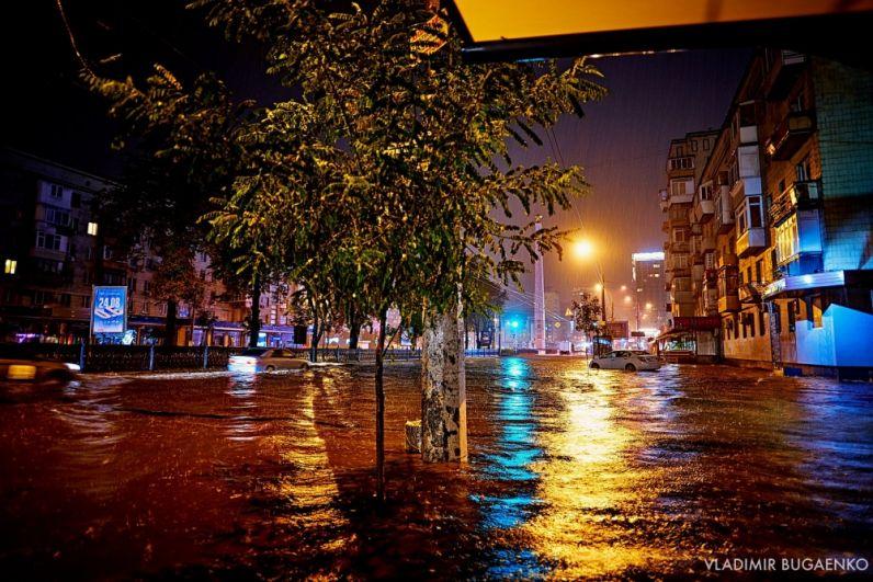 Река на дороге в центре Киева.