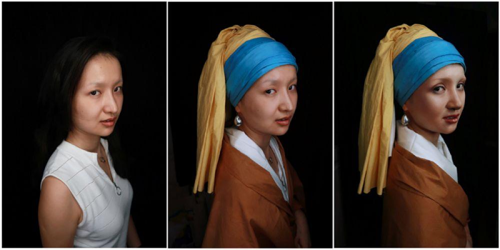 Визажист из Китая He Yuhong показывает свое перевоплощение в «Девушку с жемчужной сережкой» голландского живописца Яна Вермеера.