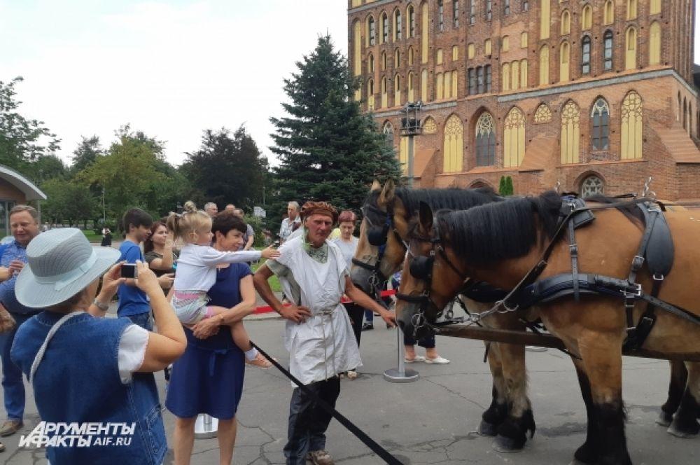 На день тяжеловозы остановились у Кафедрального собора в Калининграде.