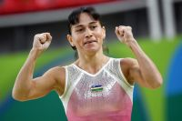 Оксана Чусовитина (Узбекистан) во время квалификационных соревнований по спортивной гимнастике на XXXI летних Олимпийских играх.