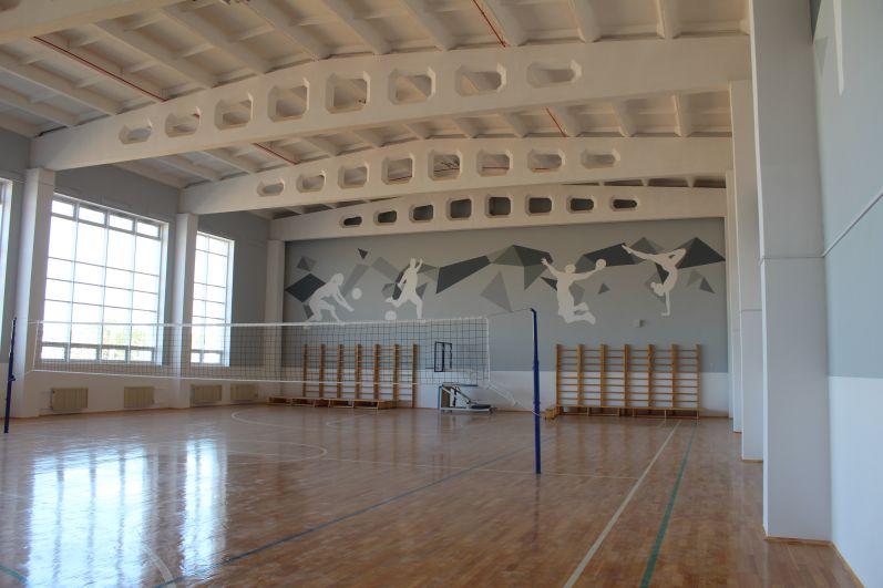 Там выглядит в школе большой спортзал.