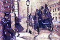 """Картина А.Н. Бенуа """"Германн у дома графини""""."""