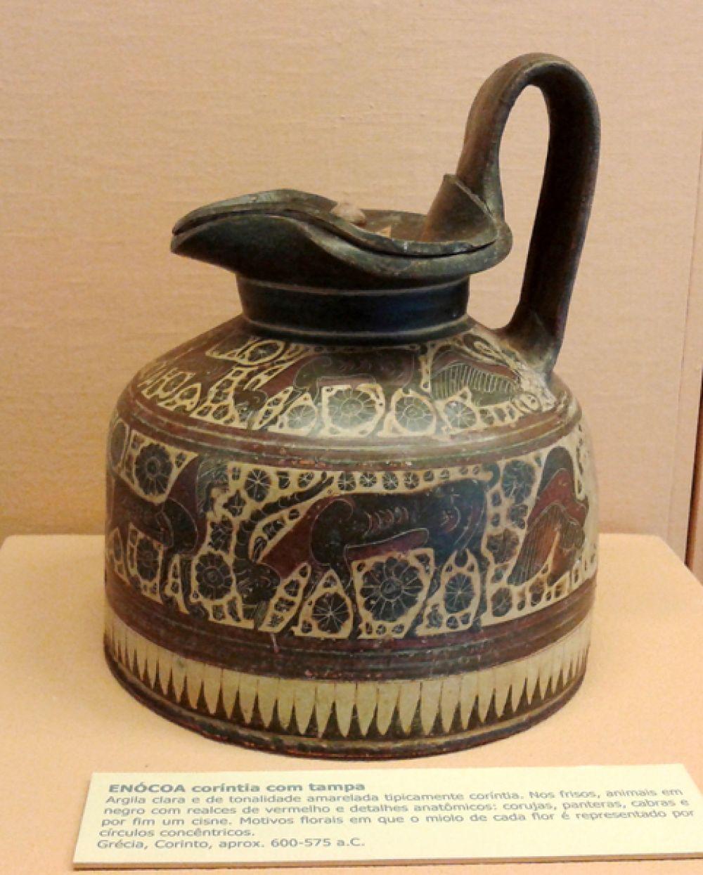 Коринфская ойнохойя (древнегреческий кувшин) с крышкой. 600-575 годы до н.э.