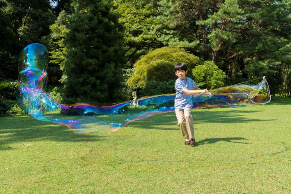 Японский принц Хисахито, единственный сын принца Акисино и принцессы Кико, надувает мыльные пузыри на лужайке в поместье Акасака в Токио. 6 сентября принцу исполнилось 12 лет.