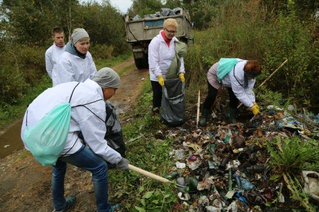 Большую свалку у дороги волонтеры убирали не менее часа.