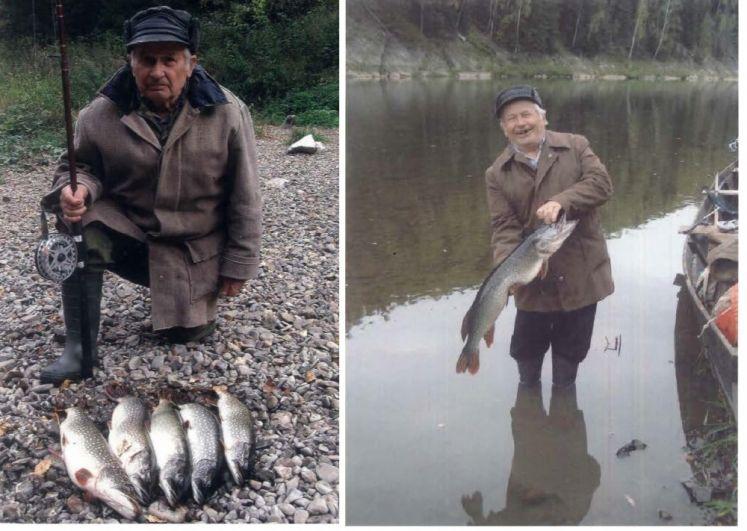4. Леонтьев Павел Степанович. Его фотографию прислала супруга в память о нём. В апреле 2018 года Павла Степановича не стало. Ему было 88 лет. На фото - его улов на реке Чусовая.