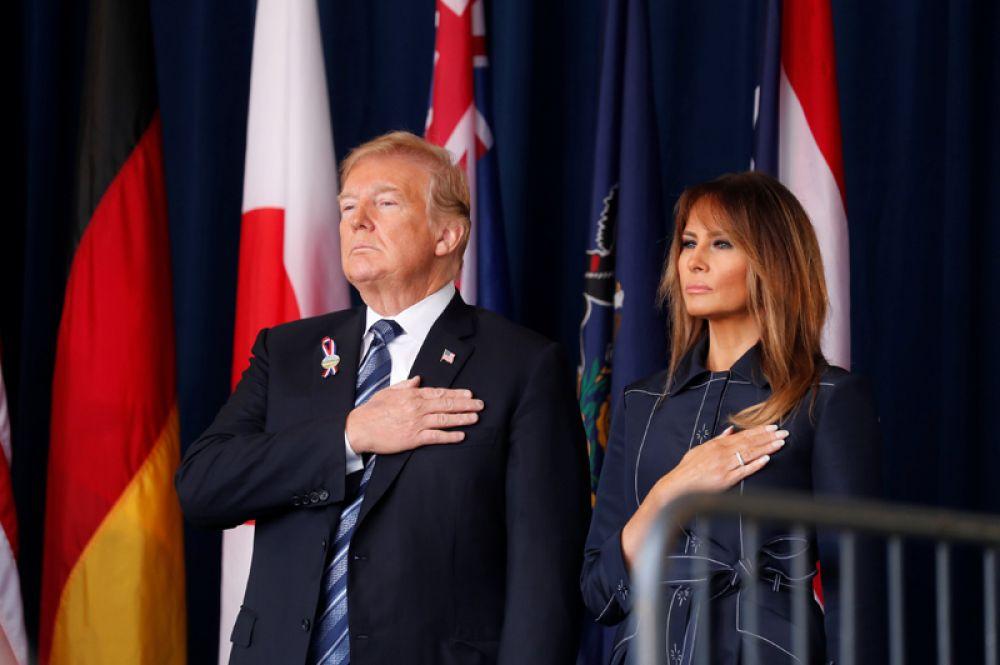 Президент Дональд Трамп и первая леди Мелания Трамп принимают участие в памятных мероприятиях в Шанксвилле, Пенсильвания.