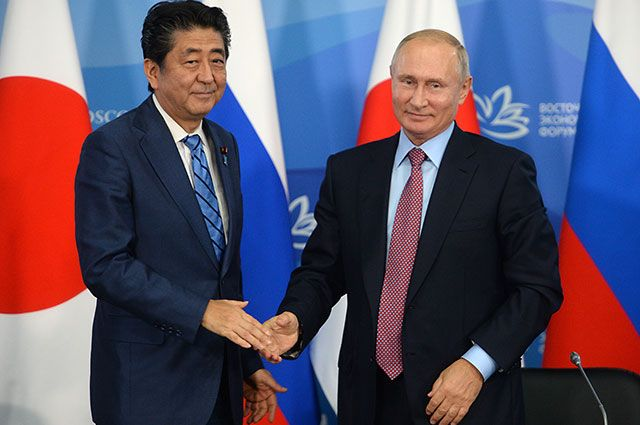 Премьер-министр Японии Синдзо Абэ и президент РФ Владимир Путин.