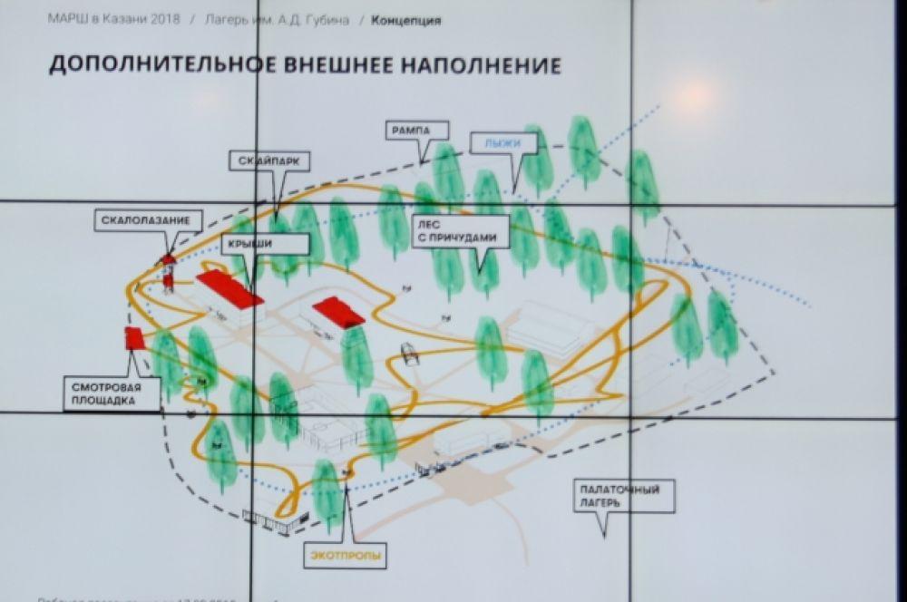 В своем проекте архитекторы предложили объединить отдельно стоящие здания и лес в единый комплекс за счет новой среды.