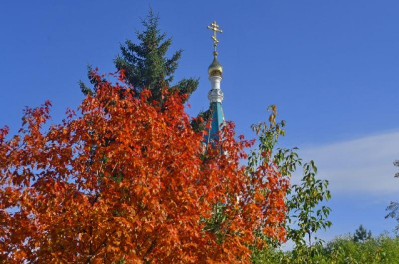 Багряный куст на фоне голубого неба и собора - неописуемая красота.