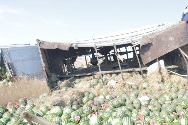 В Адамовском районе перевернулся «КамАЗ» с арбузами.