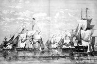Атлантическая эскадра контр-адмирала Лесовского на рейде Нью-Йорка. Иллюстрация из журнала Harpers Weekly.