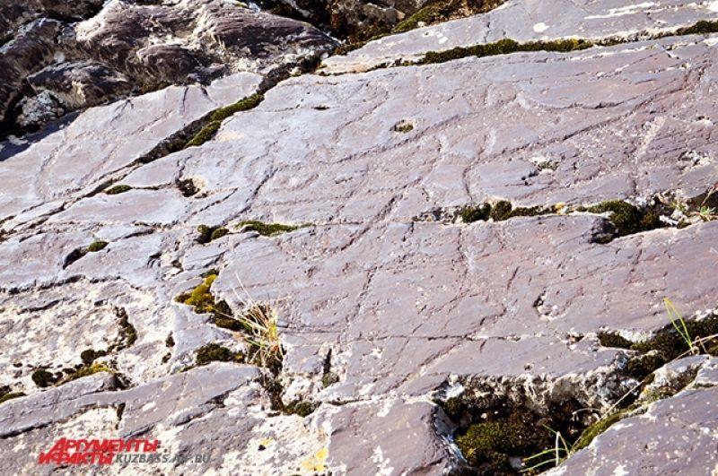 На Висячем камне кроме изображений лосей, сердцевидные личины и маска «шамана», у которого отчётливо видны рога.