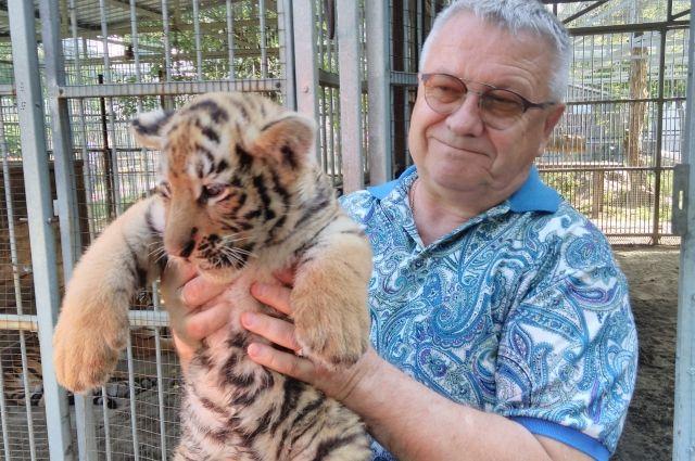Директор зоопарка Сергей Писарев с тигренком