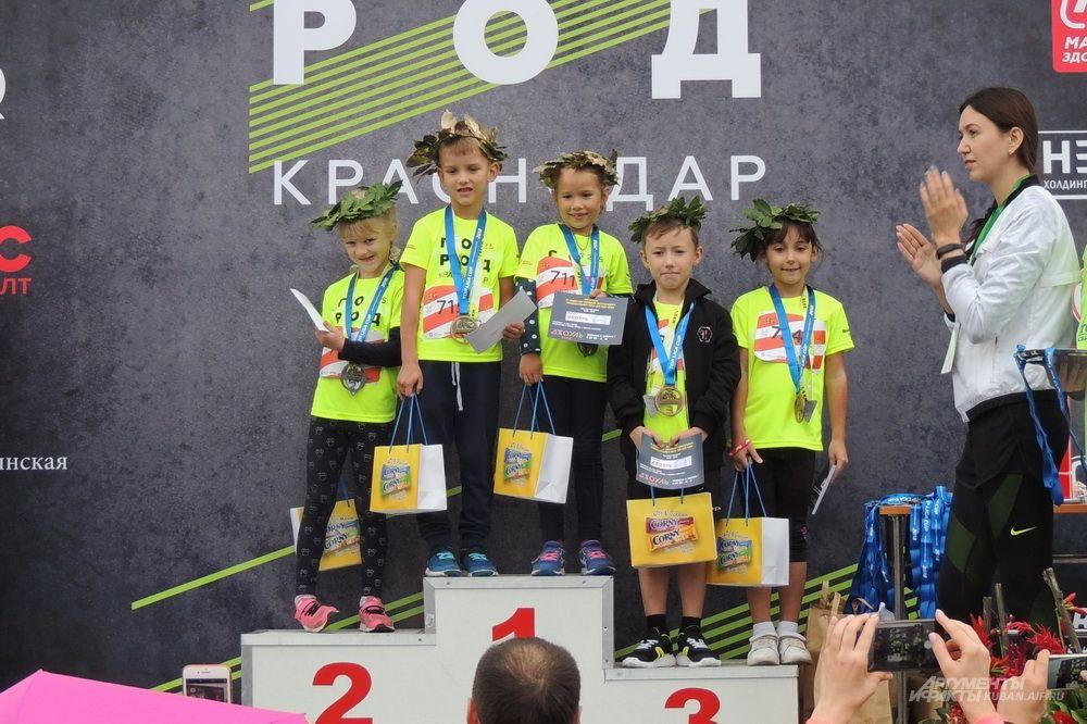 Победители забега Детская миля 1,6 км для участников от 0 до 6 лет.