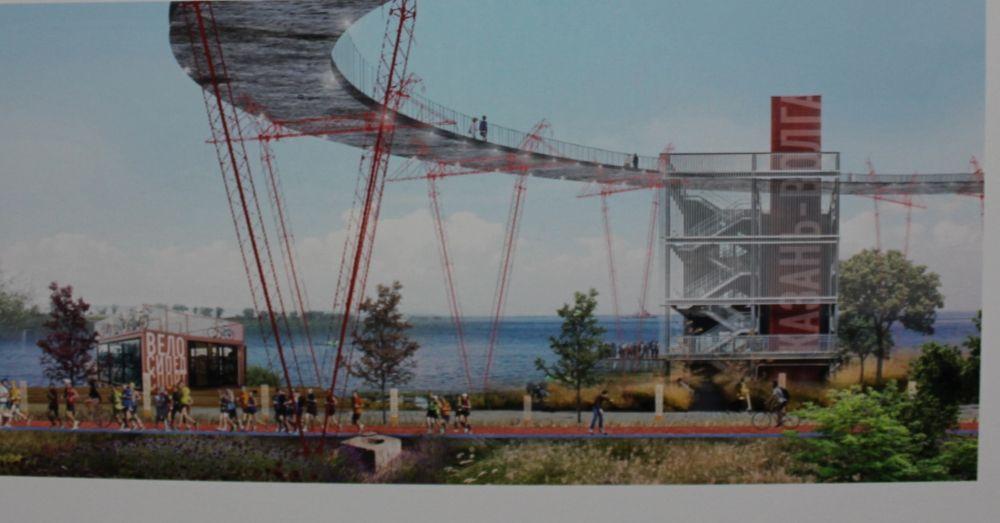 На эскизах архитекторов можно найти разные варианты доступа на полуостров Локомотив. Это один из них - надземный пешеходный мост.