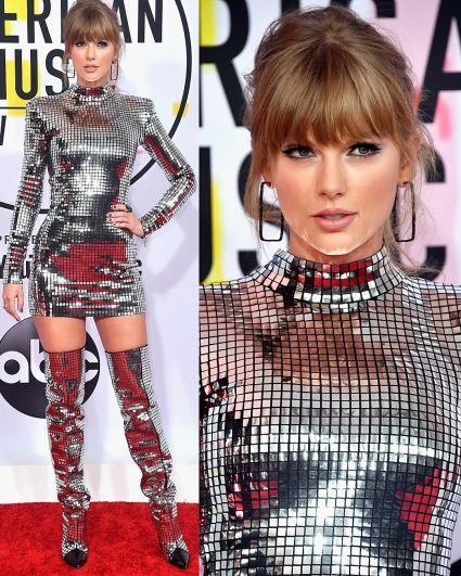 Тейлор Свифт вышла на красную дорожку в серебристом мини-платье и высоченных ботфортах. Наряд сделал звезду немного смахивающей на робота из неопознанной галактики.
