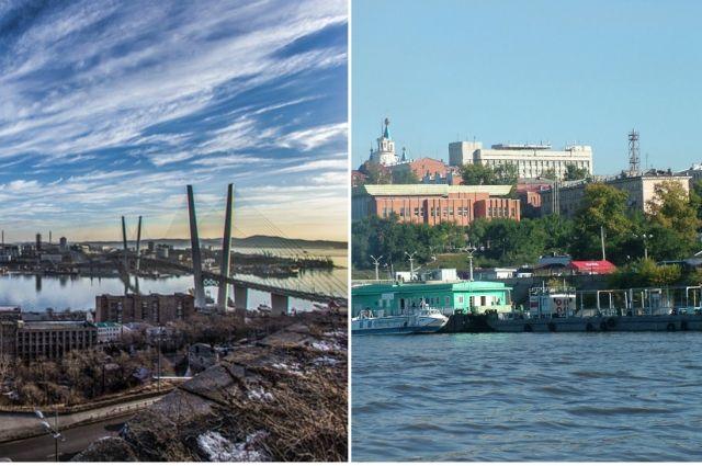 Владивосток и Хабаровск.