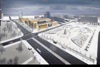Проектировщики представили картинки - как будет выглядеть новое здание (вид с эспланады).