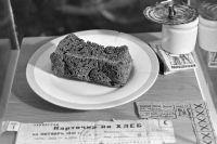 Блокадный хлеб и хлебные карточки времен Великой Отечественной войны в музее истории хлебопечения.