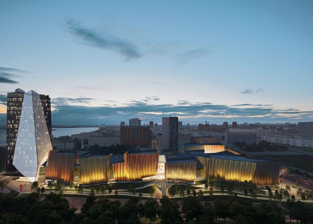 Таким авторы концепции видят комплекс вечером со стороны улицы Попова.