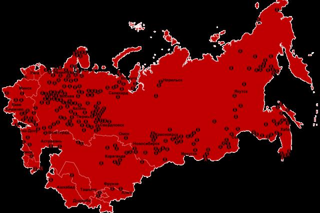 Интегральная карта расположения концентрационных лагерей системы ГУЛаг, существовавших в СССР с 1923 по 1967 годы.