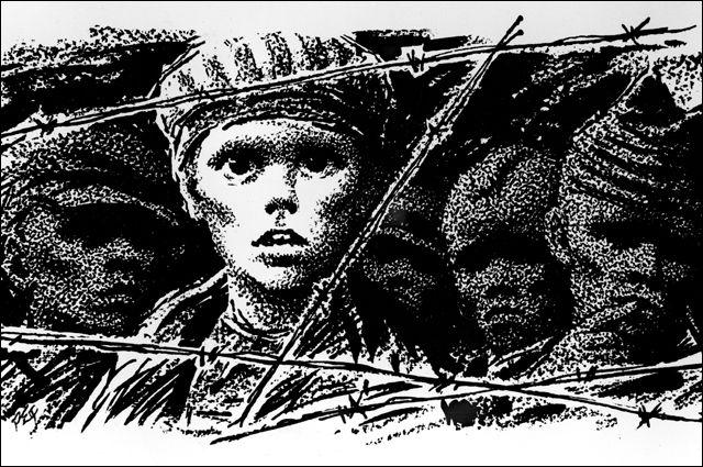 Рисунок «Дети Бухенвальда». Автор Роман Ефименко, художник-график. Репродукция.