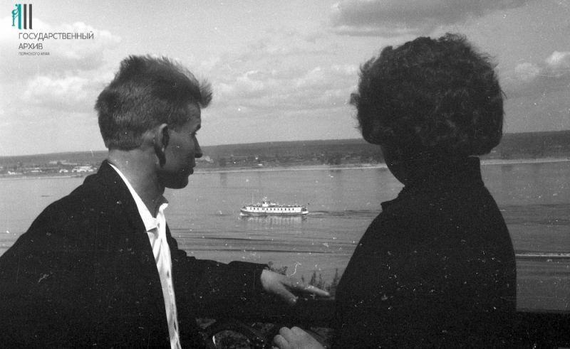Набережная Перми, вид на Каму, 1950-е годы.